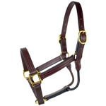 Amish Made Leather Halter with Rolled Throat