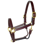 Amish Made Leather Halter with Rolled Throat + Snap
