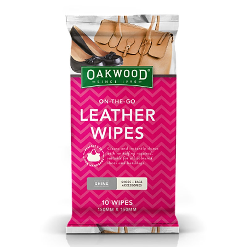 Oakwood Leather Instant Shine Wipes Travel Size at Nunn Finer - 10 Count