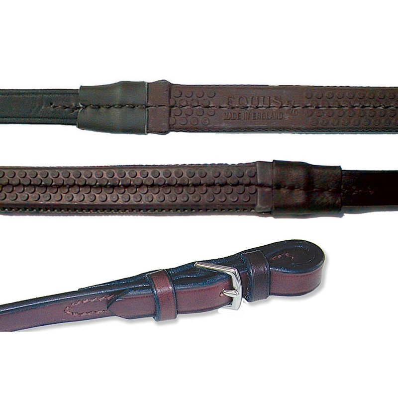 HKM German Leather Black// Brown FREE DELIVERY Rubber Grip Reins Pony Cob Full