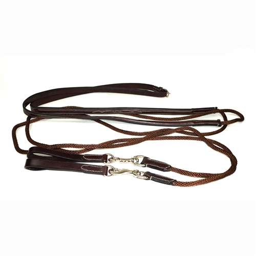 Nunn Finer Bella Donna Leather Draw Rein with Rope